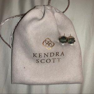 Kendra Scott Ellms Gold Stud Earrings in Sage Mica